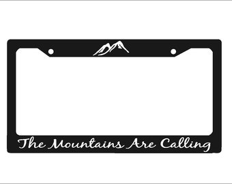 The Mountains Are Calling License Plate Frame  Auto License Plate Holder |  Mts01 |Mountains License Plate Holder | Car Tag Holder