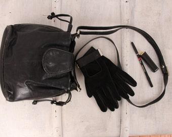Vintage black leather shoulder bag 1980s