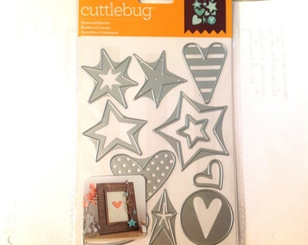 Cricut Cuttlebug Cut & Emboss Dies STARS and HEARTS  cutting dies by Cricut cc52