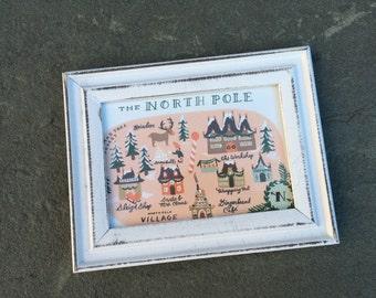 "Framed North Pole Map, Measures 6 1/2"" X 5"", Whitewash Frame"