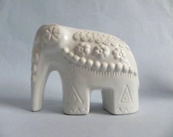 Rosa Ljung Deco Helsingborg white ceramic elephant RARE Mid Century Scandinavian Nordic design TM