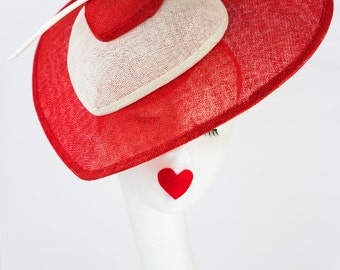 Amber - fascinator - sinamay- lovehearts - special occassion - red - white