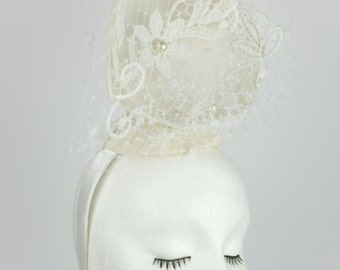Becky Bridal fascinator - white medium loveheart - spot veiling - lace flowers - cream pearls - wedding