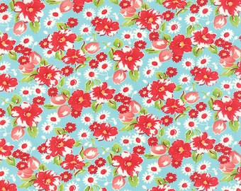 Little Ruby Little Swoon in Aqua Fabric by Bonnie and Camille for Moda Fabrics