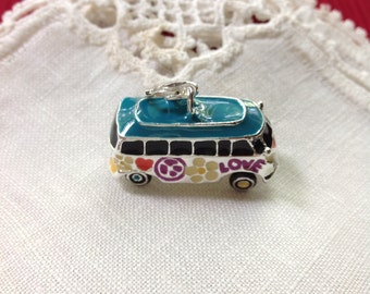 VW Bus Charm, Silver Tone and Enamel