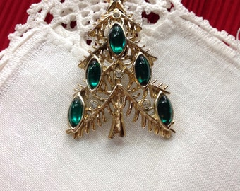 Book Piece, Tancer II Christmas Tree Pin Broach, Green Rhinestones