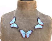 Butterfly gifts, butterfly necklace, something blue, blue, blue necklace, statement necklace, summer wedding, necklace