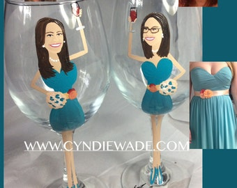 Special! Bridesmaid Wedding Caricature Wine Glasses
