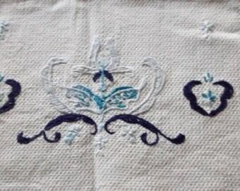 Vintage Table Runner/ Dresser Scarf Blue Delft Embroidered Linen Cotton