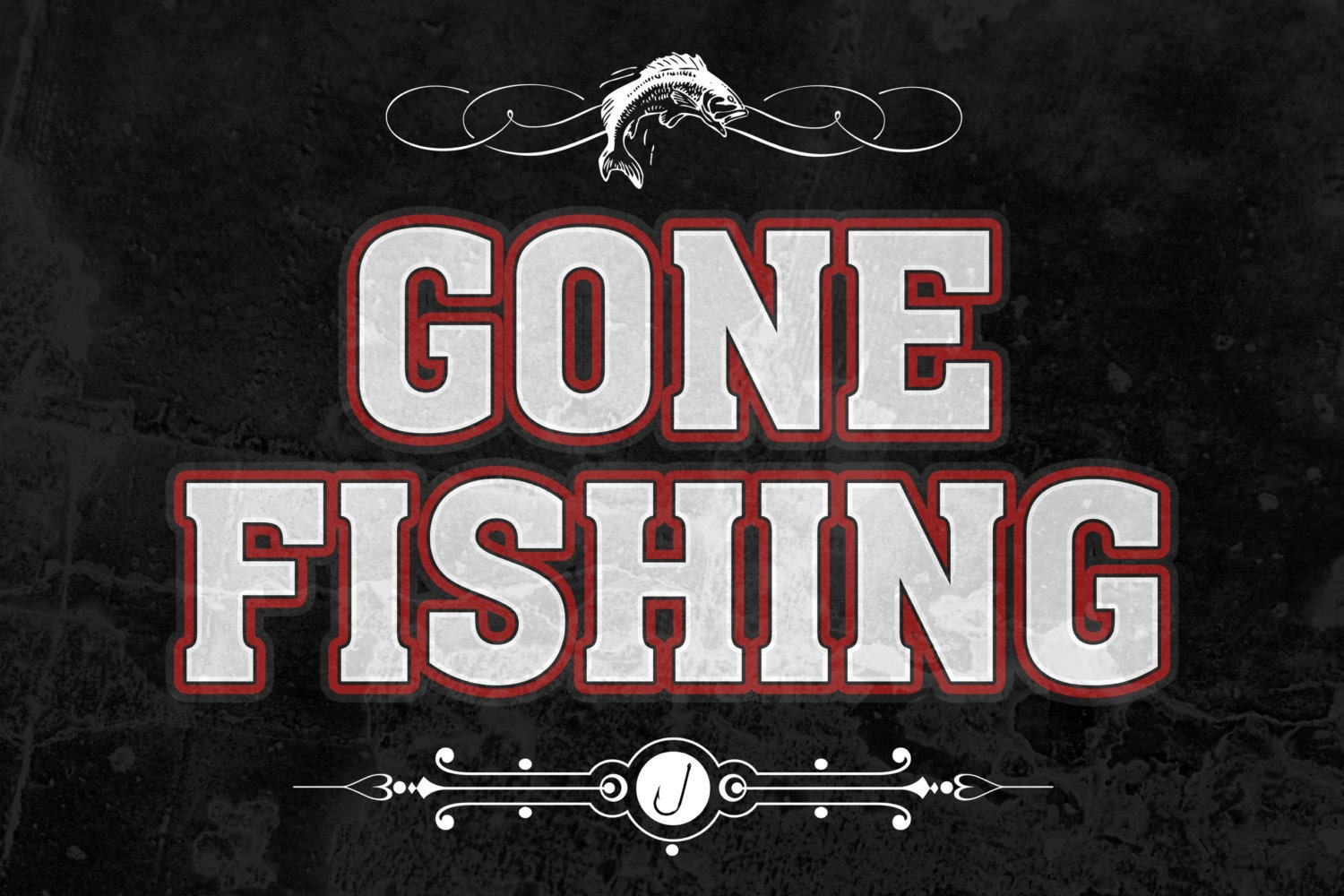 Gone fishing fishing sign plastic man cave s873 metal aluminum for Gone fishing sign