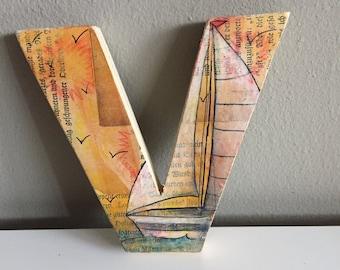 Wooden letter V