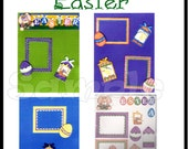 CLEARANCE SALE * Scrapbook Page Easter Scrapbook Paper Layout kit DIY Premade Scrapbook pages  embellishments Easter Paper piecing kit