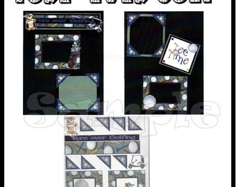 CLEARANCE SALE * Scrapbook Pages Scrapbook Paper Layout kit DIY Premade Scrapbook pages Scrapbook embellishments Golf Paper piecing