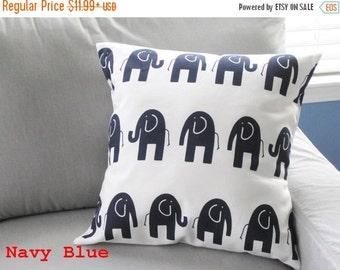SALE Pillow Cover, Navy Blue Pillow, Throw Pillow, Pillow, Decorative Pillow, Baby Boy,Baby Girl, Nursery, Cushion,Elephants, Various Sizes