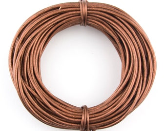 Copper Metallic Round Leather Cord 2 mm 10 meters (11 yards)