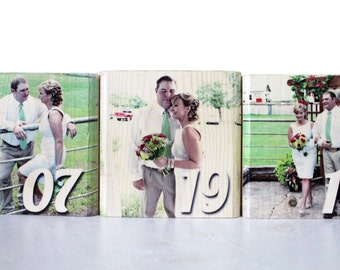 WOOD ANNIVERSARY GIFT: Valentine's Day, Personalized Photo Blocks, Wedding Date, Photo Print, Photos on Solid Wood, Gift for Husband, Wife