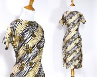 ON SALE Vintage 1950s Dress | 50s Rose Floral Print Silk Wiggle Dress | Yellow Black Gold | M L