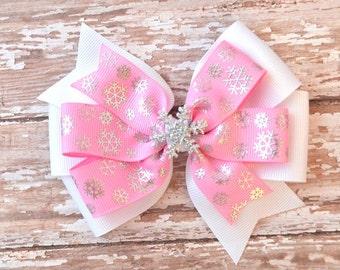 Snowflake Hair Bow, Pink Hair Bow, Snowflake Bow, Toddler Hair Bow, Frozen Headband, Baby Headband, Pink Headband, Frozen Hair Bow, Hair Bow