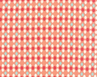 1/2 Yard - Summerfest Cotton Candy Orange Ovals Fabric by April Rosenthal - 24036 14