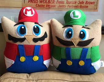 Mario and Luigi Owl Plushies- Inspired by Mario Brothers- Set of two Plush Mario and Luigi