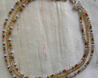 Three strand Multi color glass beads Necklace