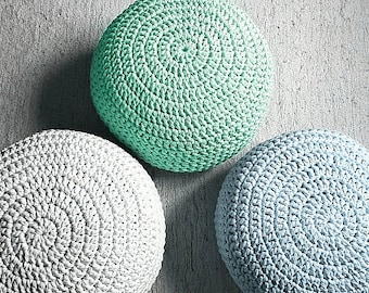 Mint Green Pouf Ottoman-Mint Footstool-Crochet Pouf-Mint Green Nursery Decor-Living Room Knit Ottoman Poufs-Kids Furniture-Baby Shower Gifts