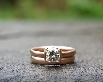 Rose gold 1 ct Forever Brilliant moissanite ring set, cushion cut engagement ring set