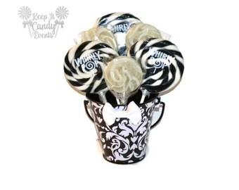 Small Black and White Damask Lollipop Centerpiece, Sweet Sixteen Centerpiece, Bridal Shower Centerpiece, Damask Wedding Candy Table Decor