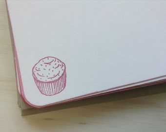 vintage inspired flat note cards and envelopes, cupcake, set of 10, a2, stationery set