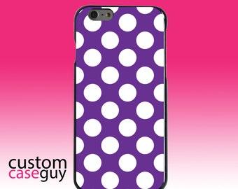Hard Snap-On Case for Apple 5 5S SE 6 6S 7 Plus - CUSTOM Monogram - Any Colors - White & Purple Polka Dots