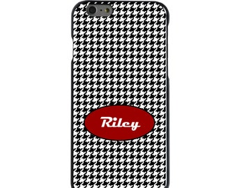 Hard Snap-On Case for Apple 5 5S SE 6 6S 7 Plus - CUSTOM Monogram - Any Colors - Black White Houndstooth Red