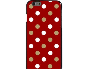 Hard Snap-On Case for Apple 5 5S SE 6 6S 7 Plus - CUSTOM Monogram - Any Colors - Boston College BC Eagles Colors - Polka Dots Pattern