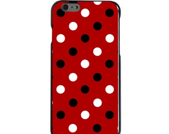 Hard Snap-On Case for Apple 5 5S SE 6 6S 7 Plus - CUSTOM Monogram - Any Colors - Louisville UL Cardinals Colors - Polka Dots Pattern