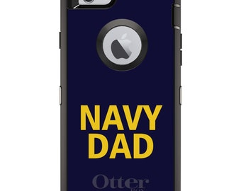 Custom OtterBox Defender Case for Apple iPhone 6 6S 7 8 PLUS X 10 - Personalized Monogram - Yellow Navy Dad