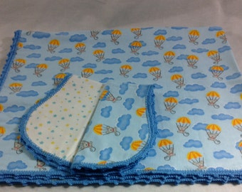Mice with Parachutes and Blue Clouds with Star Backing and Blue Crocheted Edge Hemstitched Baby Blanket and Burps by Lindas Hemstitching