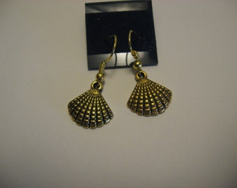Gold Colored Sea Shell Earrings
