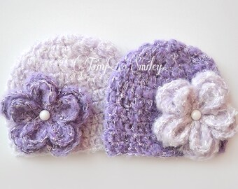 Twin Girl Hats, Lilac Newborn Hats, Lavender Twin Hats, Lilac Twin Girl Hats, Crochet Twin Hats, Mohair Twin Hats, Mohair Girl Hats, Twins