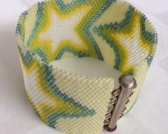 Yellow Star Peyote Bracelet