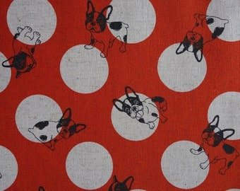 French Bulldogs and Polka Dots - Orange - Cotton Linen Japanese Fabric