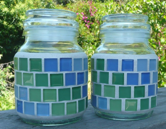 Mosaic Storage Container with Airtight Lid in lovely pattern of Greens and  Blues / Set of 2