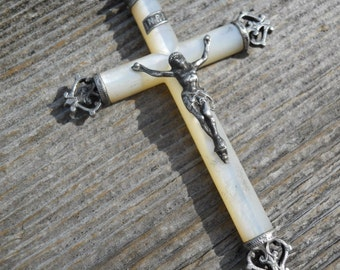 Antique French Mother of Pearl Silver Large Crucifix Cross Rosary Medal Pendant