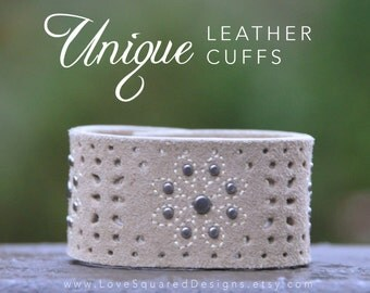 oatmeal suede leather cuff bracelet, neutral punched leather, unique leather cuffs, Love Squared Designs