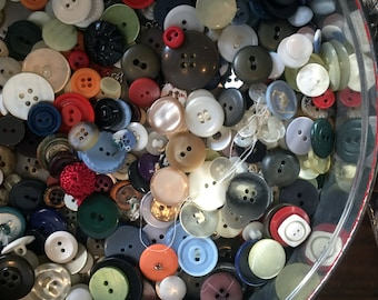 Vintage Tin with Buttons, Loose Buttons, Buttons On Original Cards, 2 pounds