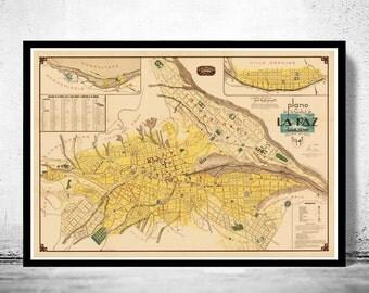 Old Map of La Paz Bolivia