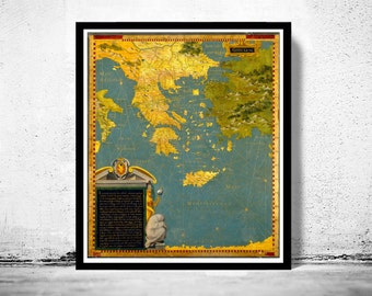 Old Map of Greece 1585 Vintage map