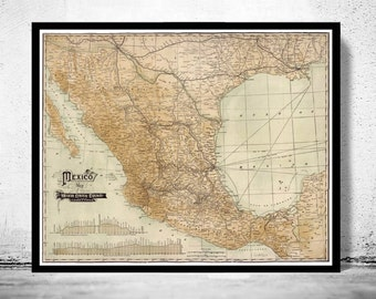 Old Map of Mexico 1910