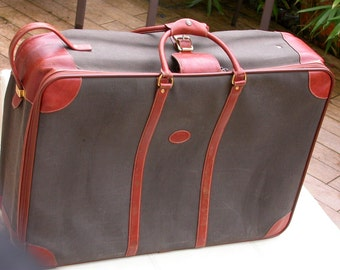 French Vintage Leather Longchamp France Paris trunk  suitcase Embossed Trunk Huge luggage Travel Case Trunk Suitcase