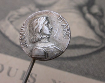 Antique french sterling  silver brooch Joan of arc medal lys pin sterling hat pin brooch  France