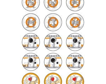 1 Inch BB8 Inspired Bottle Cap Graphics 4x6 15 Images Per Sheet