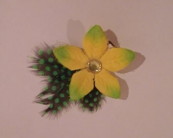 Yellow & Green Flower Clip with Polka-dot Feathers